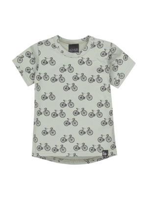 baby T-shirt Fietsen met all over print mosgroen
