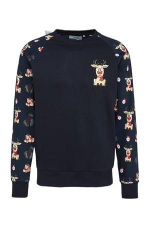 kerstsweater met dierenprint navy blazer