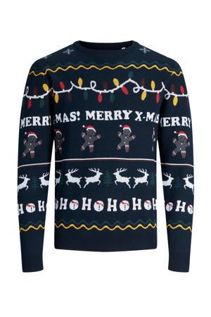 kersttrui PKTBWO met all over print navy blazer