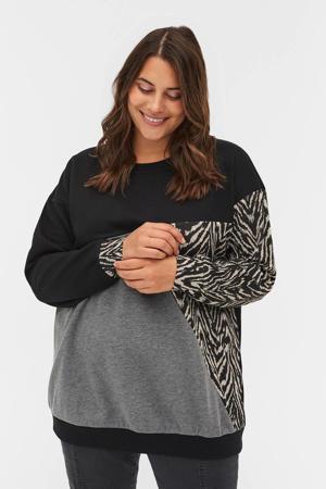 sweater XRANDI zwart/grijs/lichtbruin