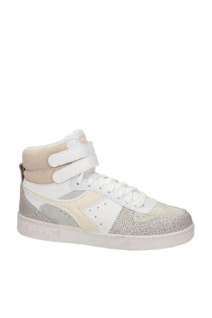Magic Basket Mid  hoge leren sneakers wit/beige