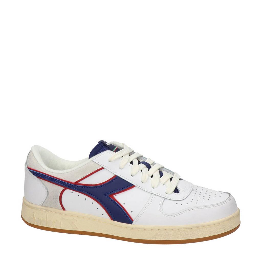 Diadora Magic Basket Low Ico  leren sneakers wit/blauw, Wit/blauw