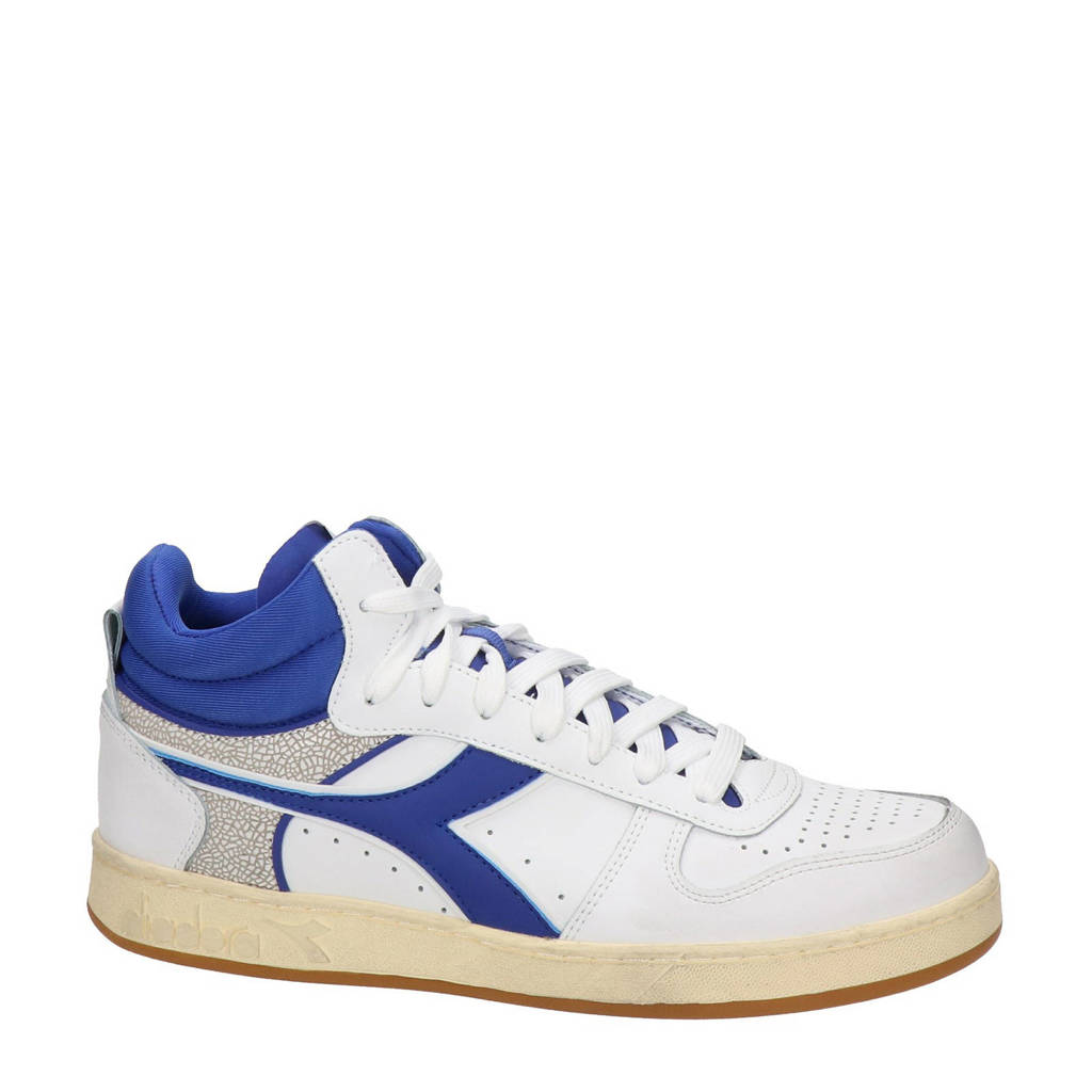 Diadora Magic Basket Demi Cu  leren sneakers wit/blauw, Wit/blauw