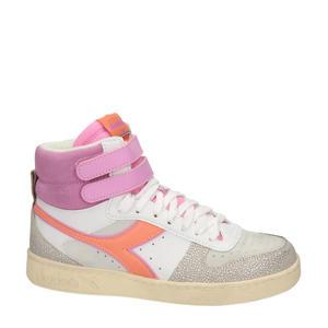 Magic Basket Mid  hoge leren sneakers wit/roze
