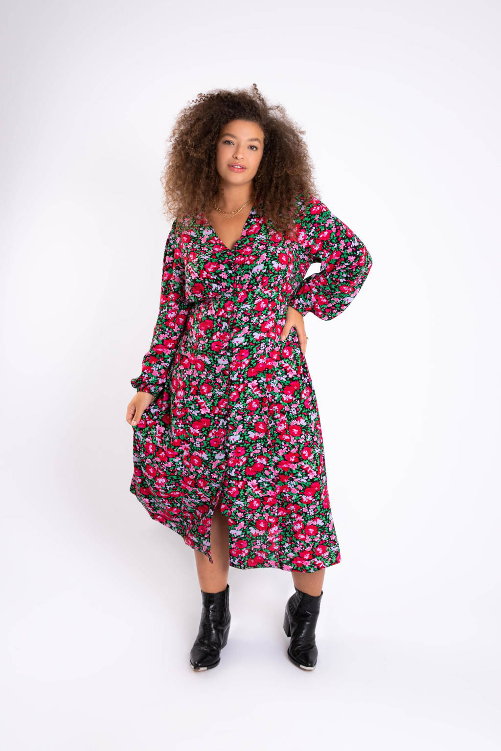 MS Mode gebloemde A-lijn jurk zwart/roze/groen, Zwart/roze/groen