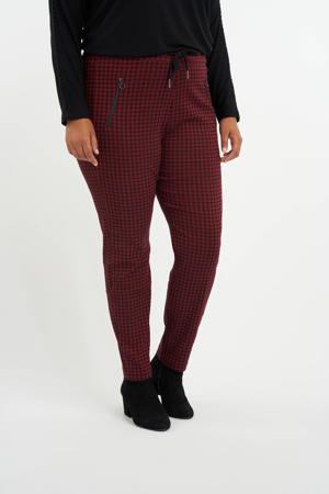 straight fit pantalon met pied-de-poule donkerrood/zwart