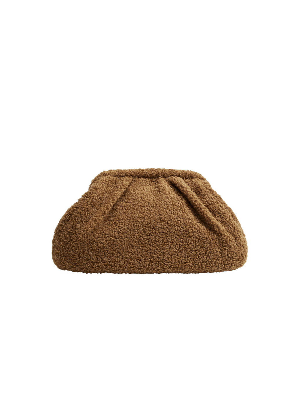 Mango  teddy clutch bruin, Bruin