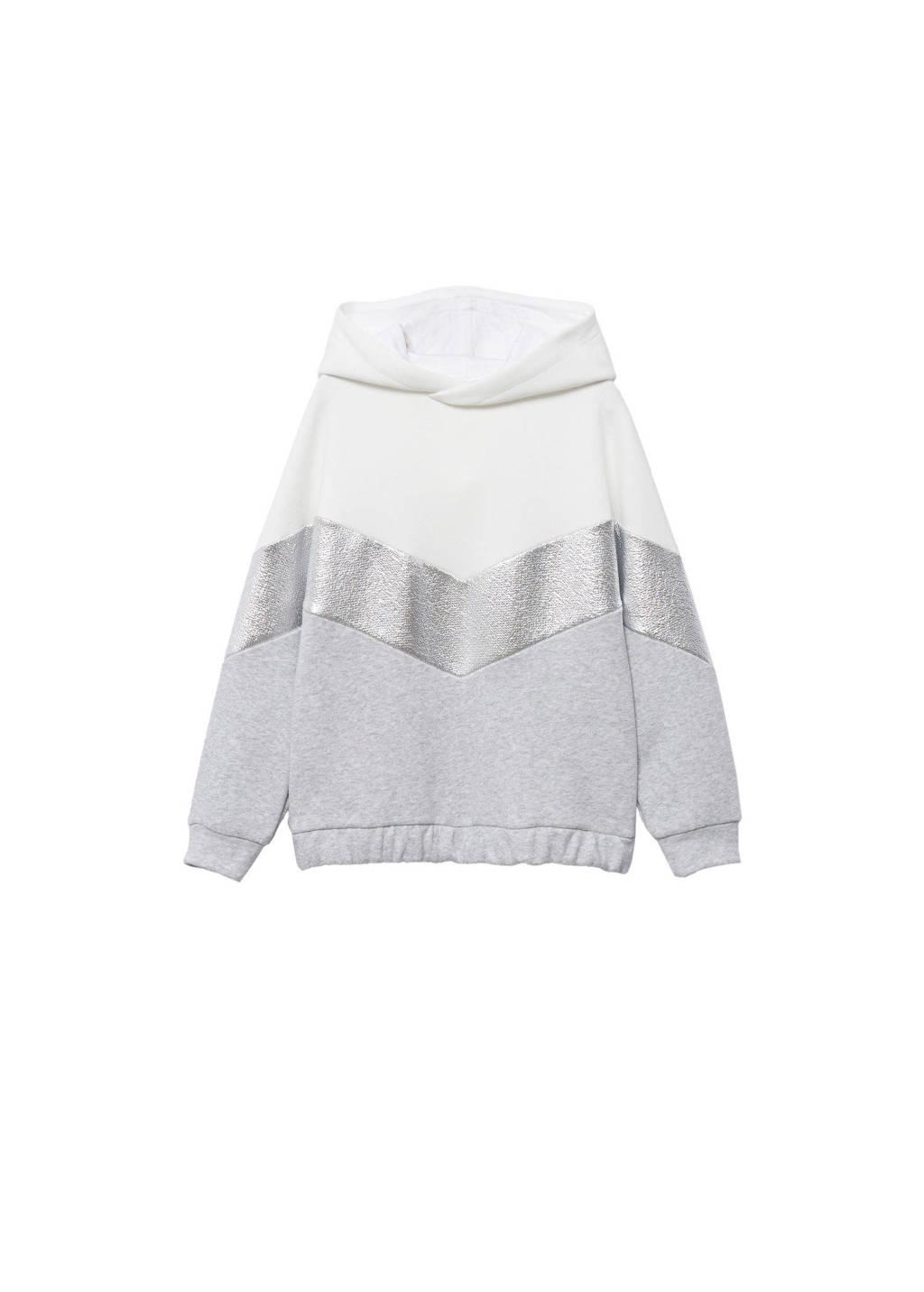 Mango Kids hoodie naturel wit/grijs/zilver, Naturel wit/grijs/zilver