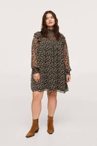Mango Plus Size semi-transparante jurk met all over print en volant zwart/zalm/donkergroen, Zwart/zalm/donkergroen