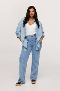 Mango Plus Size geweven blouse changeant blauw