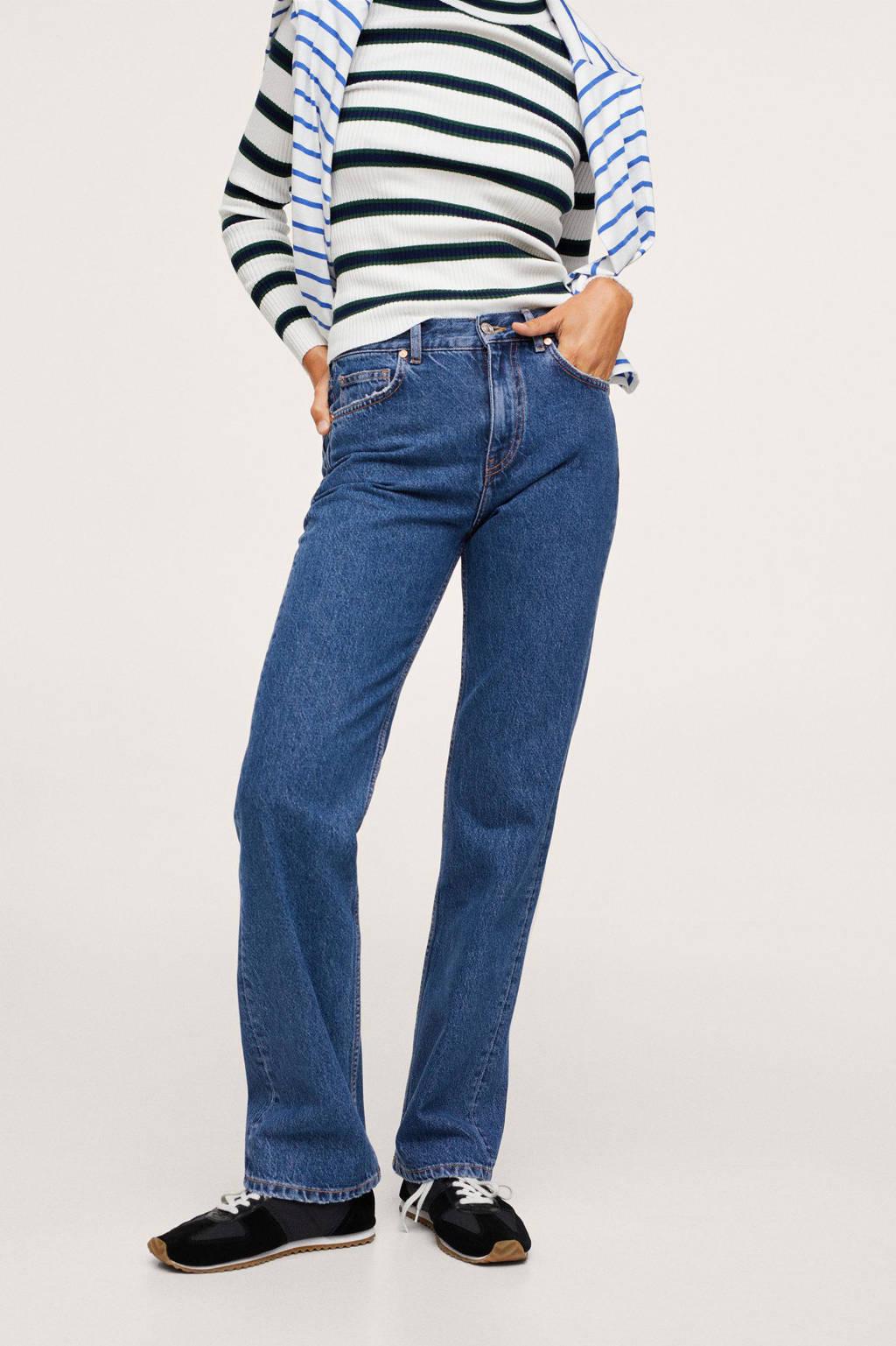 Mango high waist straight fit jeans changeant blauw