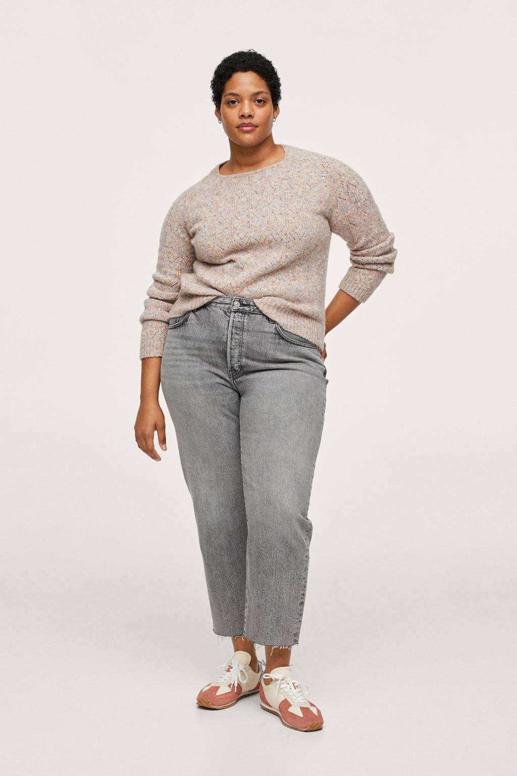 Mango Plus Size cropped straight fit jeans denim grijs, Denim grijs