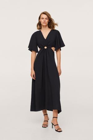midi jurk met open detail zwart