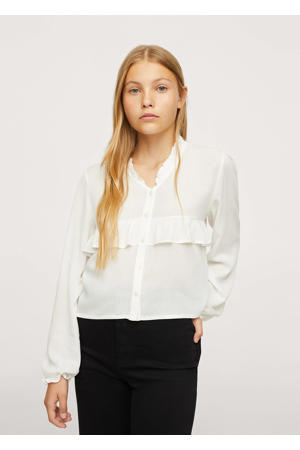 blouse met ruches naturel wit