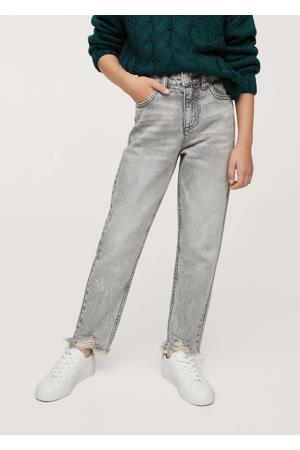 high waist straight fit jeans lichtgrijs