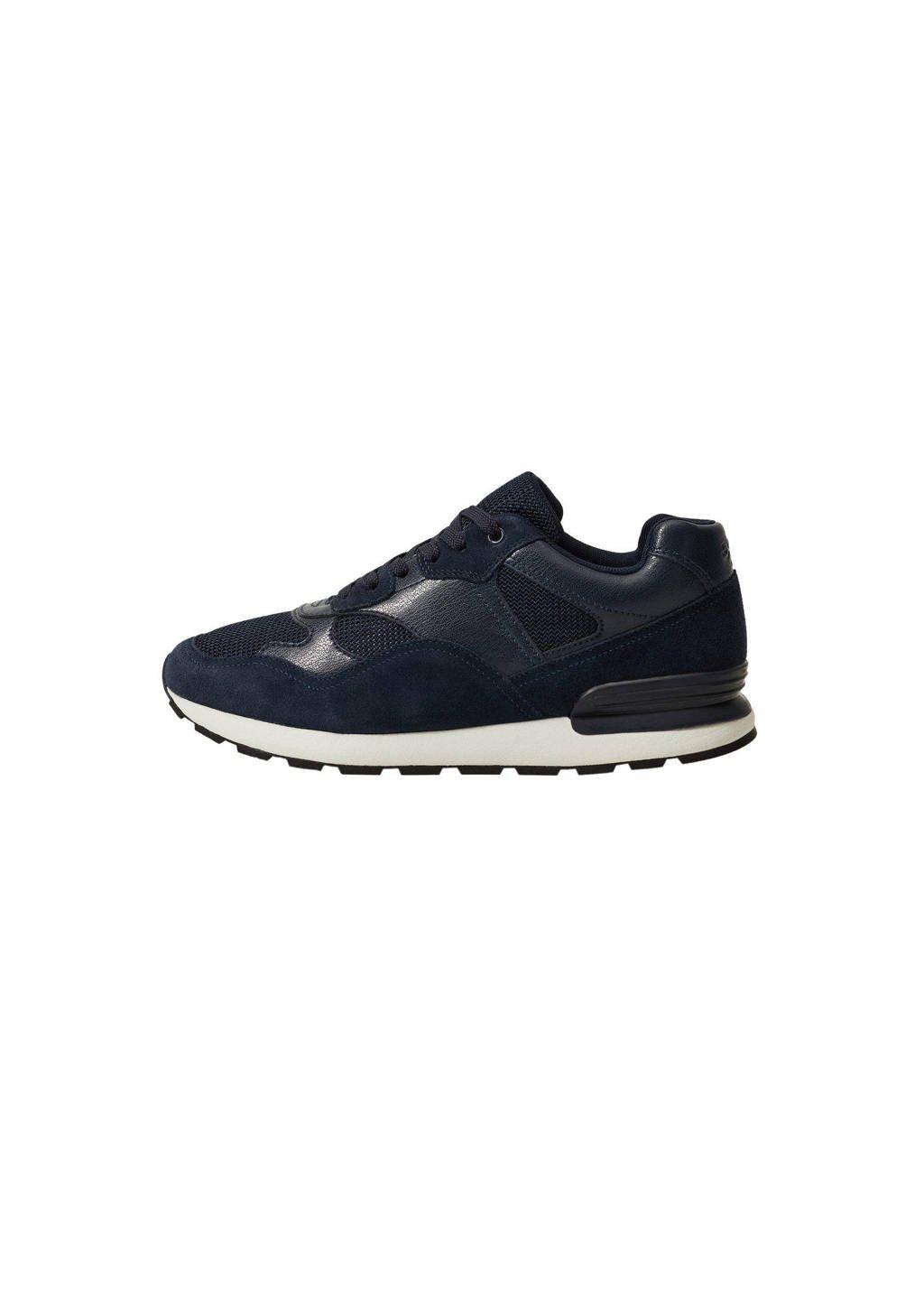 Mango Man   leren sneakers donkerblauw, Donkerblauw