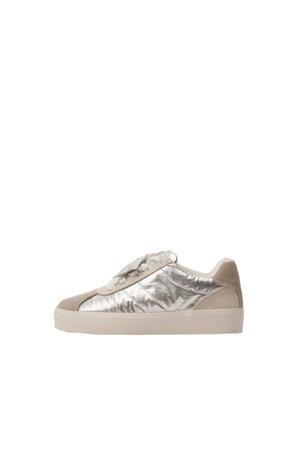 leren sneakers zilver/beige