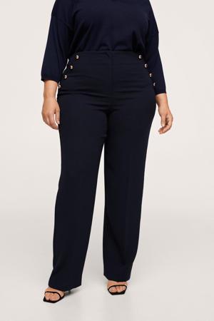high waist straight fit pantalon marine