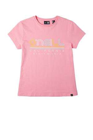 T-shirt All Year met printopdruk roze