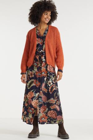 gebloemde jurk Joyfull donkerblauw/multi
