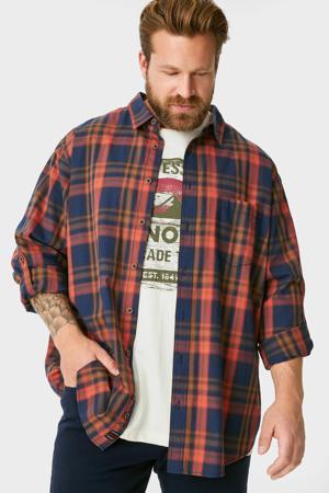 geruit overhemd + T-shirt donkerblauw/rood/wit
