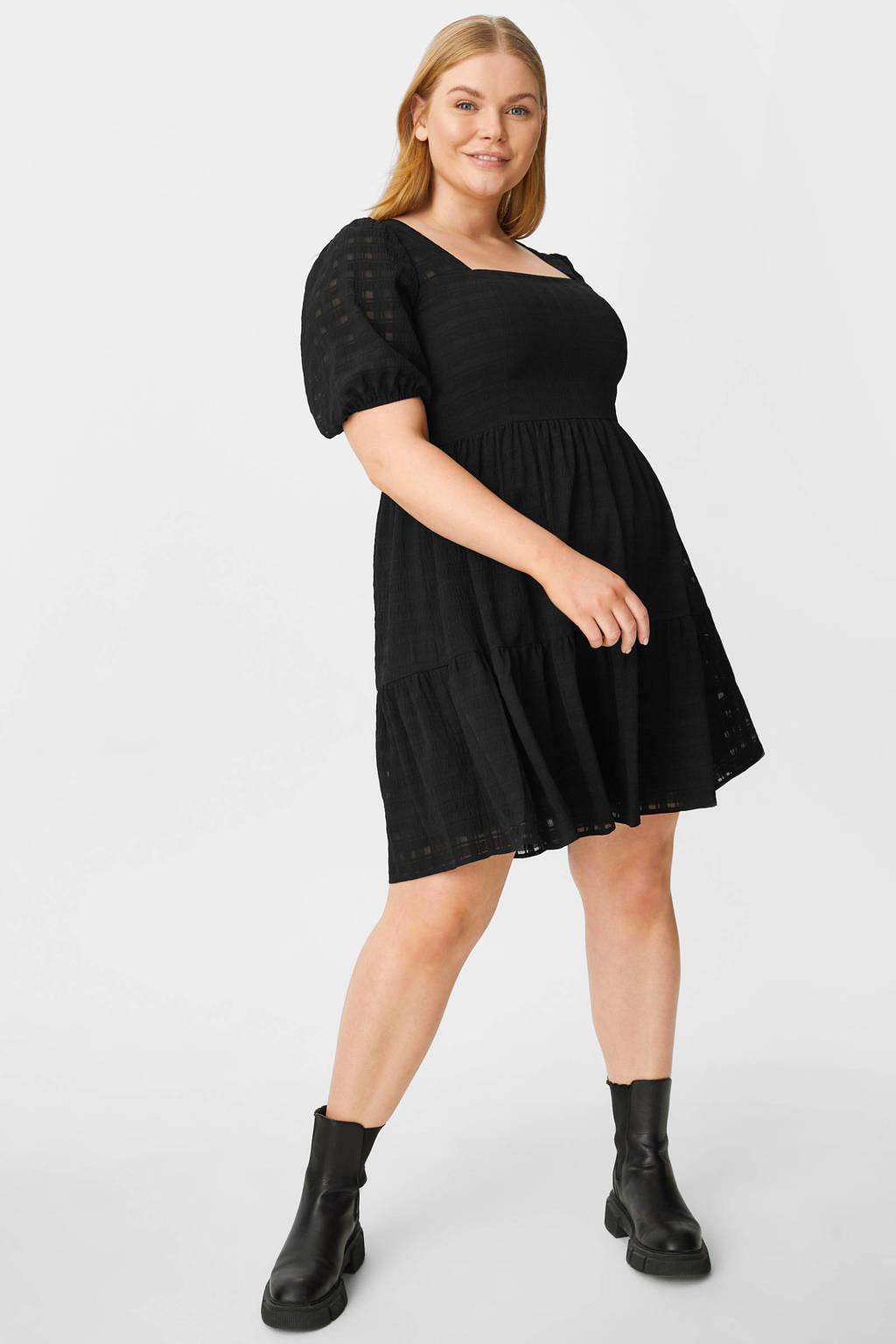 C&A Clockhouse geruite jurk zwart, Zwart
