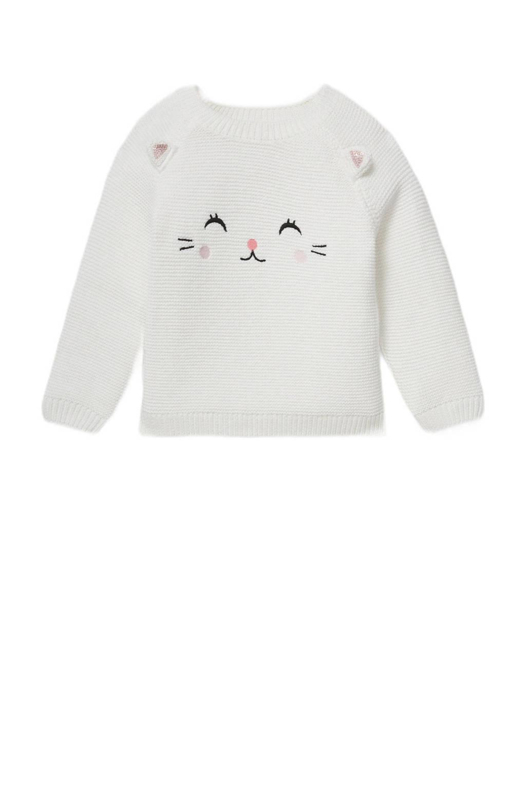 C&A Baby Club baby trui van biologisch katoen wit, Wit