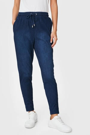 tapered fit broek donkerblauw