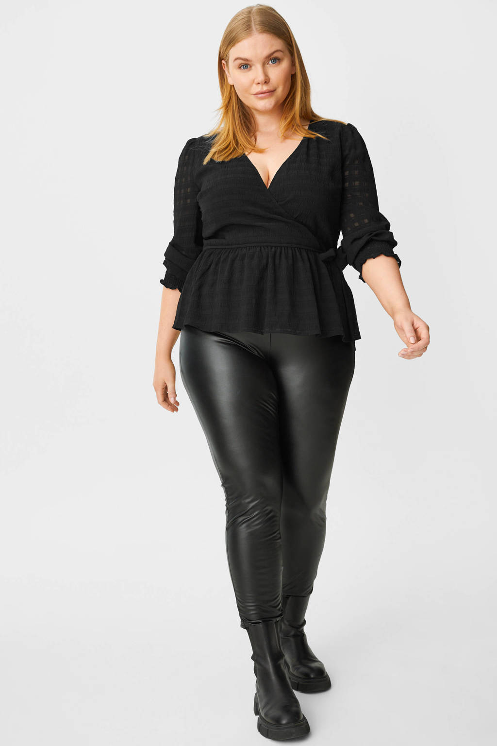 C&A Clockhouse geruite semi-transparante blouse zwart, Zwart