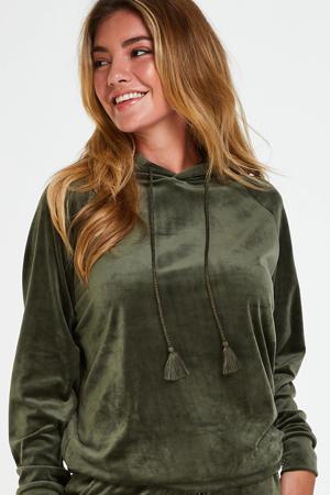 velours hoodie donkergroen