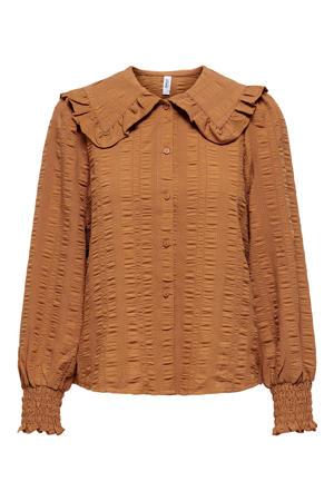 blouse ONLPOWER met ruches bruin