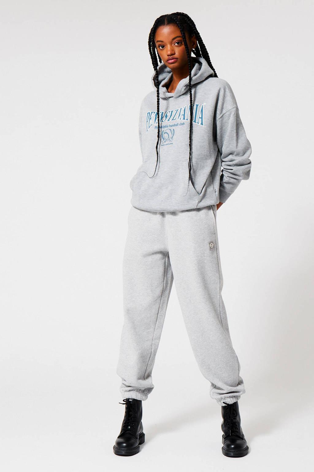 America Today hoodie met tekst light grey melange, Light Grey Melange