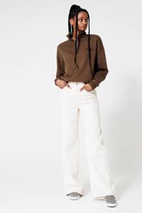 America Today sweater met borduursels bruin, Bruin