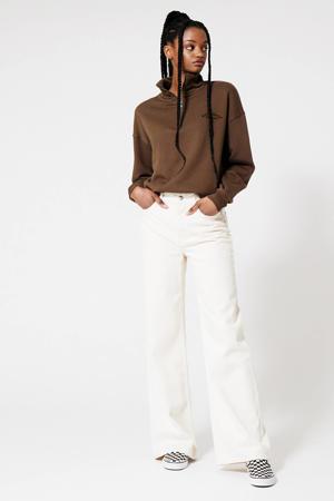 sweater met borduursels bruin