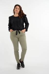 MS Mode top met volant zwart, Zwart