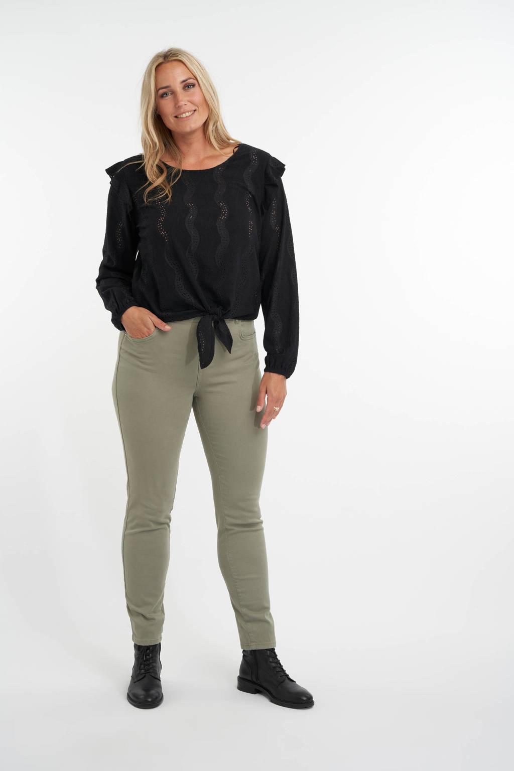 MS Mode slim fit jeans olijfgroen, Olijfgroen
