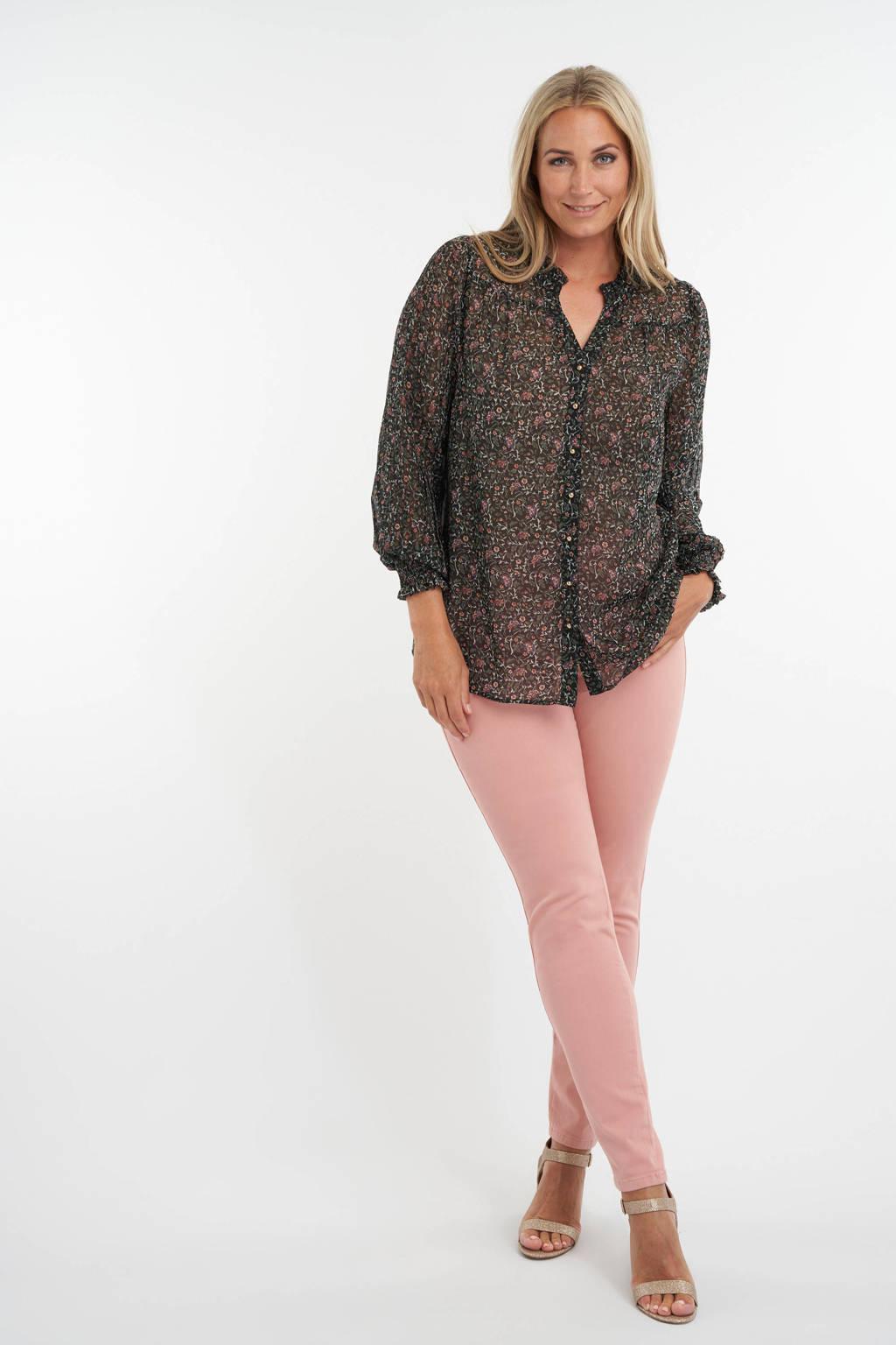 MS Mode gebloemde semi-transparante geweven blouse groen/roze, Groen/roze