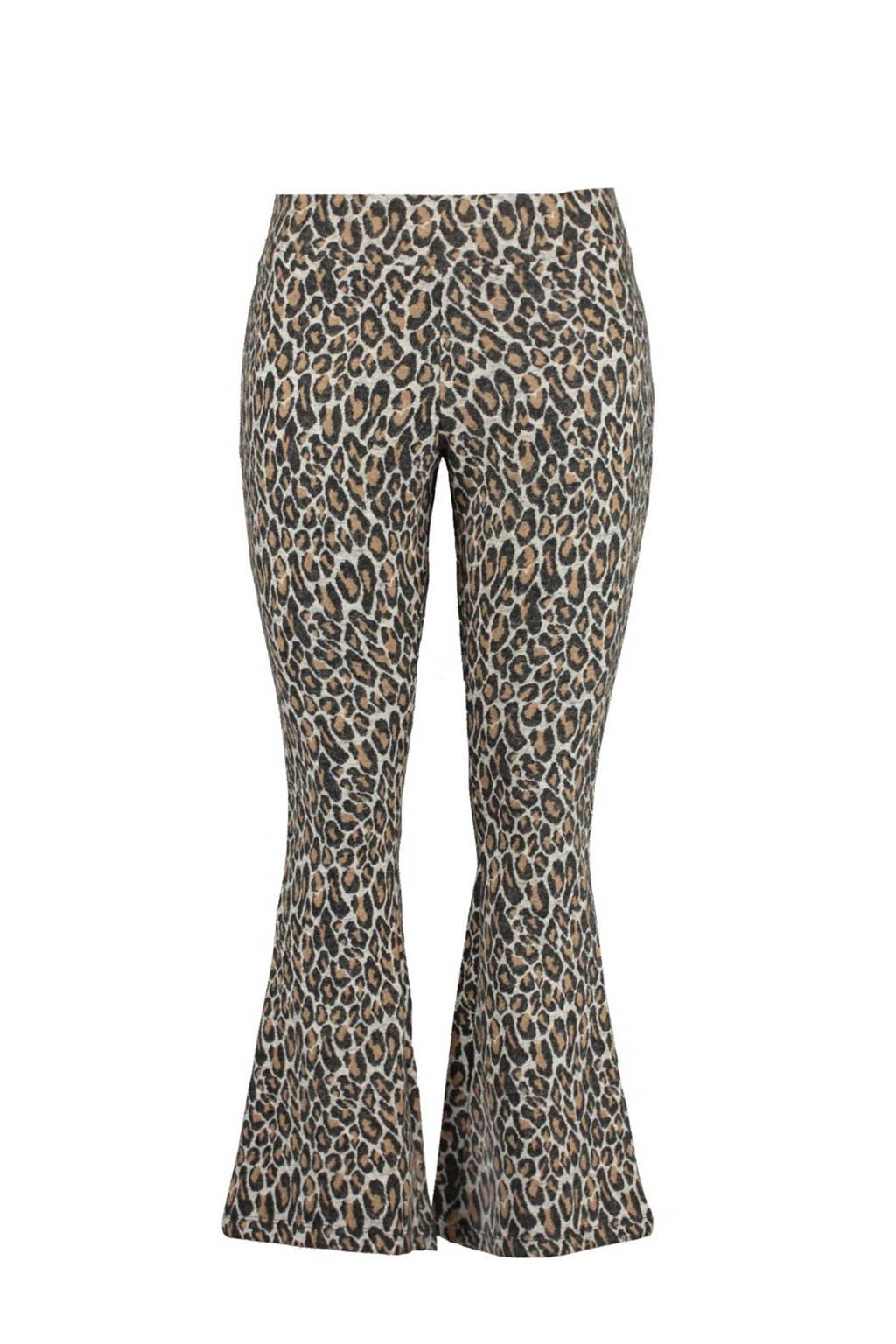 MS Mode Plus Size flared legging met panterprint bruin, Bruin