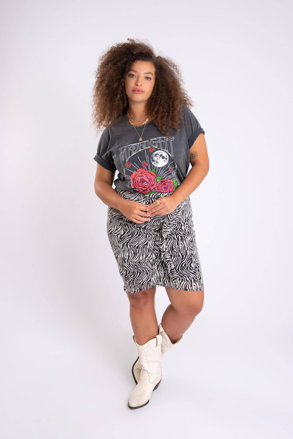 MS Mode rok met zebraprint en volant zwart/wit, Zwart/wit
