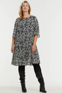 C&A XL Yessica semi-transparante jurk met all over print en open detail zwart, Zwart