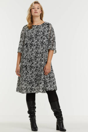 semi-transparante jurk met all over print en open detail zwart