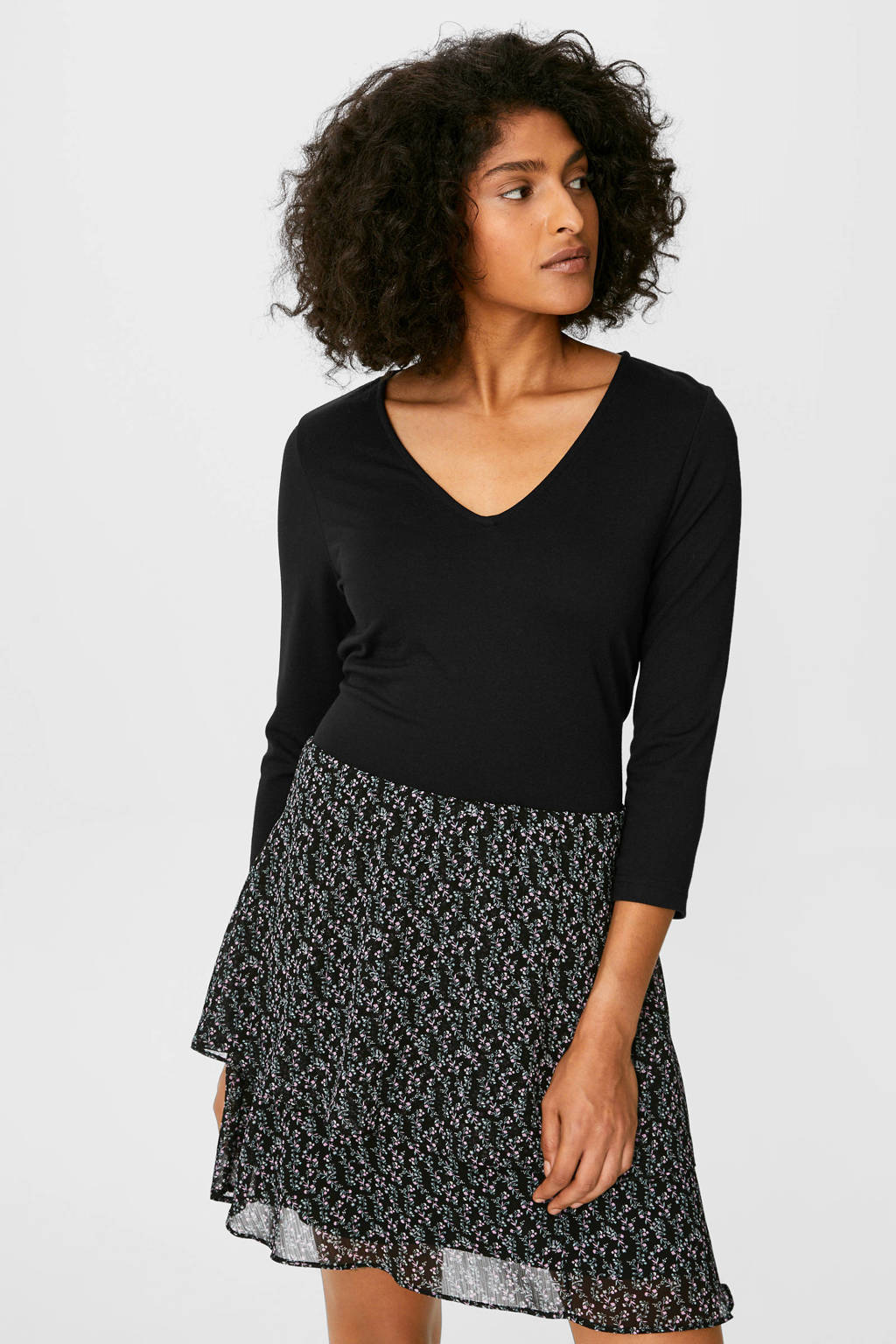 C&A gebloemde semi-transparante jurk zwart/multi, Zwart/multi