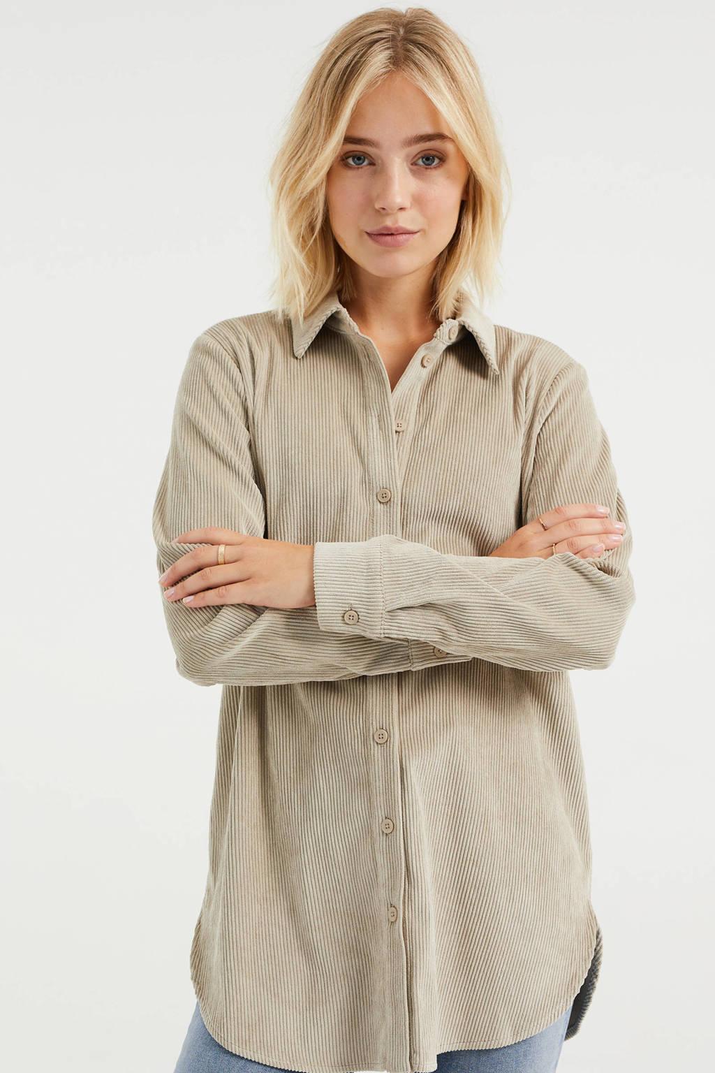 WE Fashion corduroy blouse zand, Zand