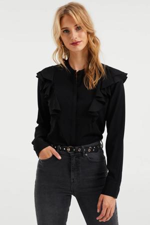 blouse met volant zwart