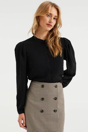 geweven blouse met plooien zwart