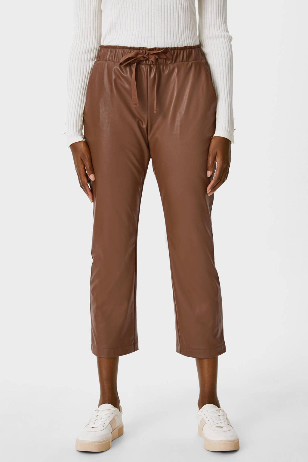 C&A YESSICA PREMIUM imitatieleren straight fit pantalon bruin, Bruin