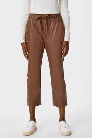 imitatieleren straight fit pantalon bruin