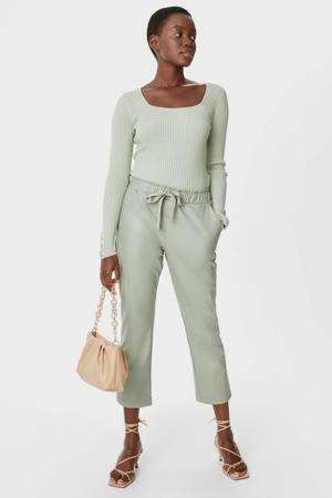 imitatieleren straight fit pantalon mintgroen