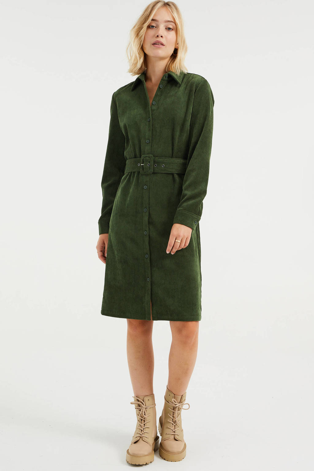WE Fashion corduroy blousejurk met ceintuur donkergroen, Donkergroen