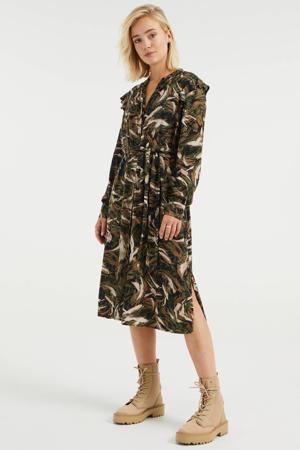 jurk met all over print en volant donkergroen/zwart/bruin/ecru
